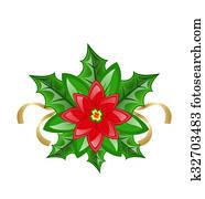 Clipart Tarjeta De Navidad Con Flor Flor De Nochebuena