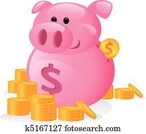 Funny Cartoon of a Piggy Bank