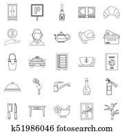 Public icons set, outline style