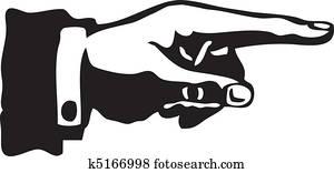 Retro Pointing Finger Vector