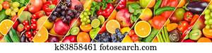 Panoramic collection fruits and vegetables background. Wide photo .