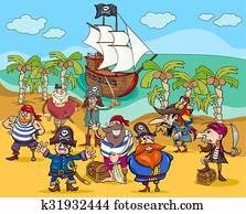 piraten, auf, schatzinsel, karikatur