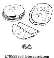 Roti food sketch separated on white