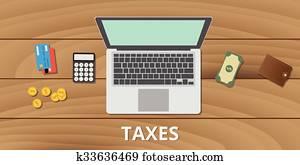 steuer, steuern, verwalten, budget, und, dokument, gebrauch, geld, taschenrechner