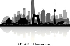 beijing, china, stadt skyline, silhouette