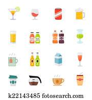 Beverage full color icon set