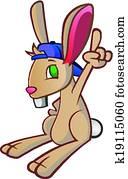 kaninchenkaninchen, baseballmütze, karikatur, c