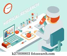 Medical research 3d isometric concept