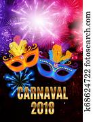 Popular Event Brazil Carnival in South America During Summe. Background With Party Mask. Masquerade Concept. Illustration