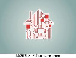 Smart home automation concept as example for digitization- vector illustration of digital house with circuit board.