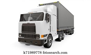 A large retro white truck with a sleeping part and an aerodynamic extension carries a trailer with a sea container. 3d rendering.