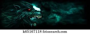 Banner with a werewolf