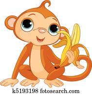 Funny Monkey with banana
