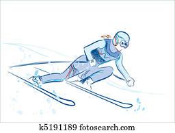 Dessin Skieur Humoristique clipart - skieur k4566897 - recherchez des cliparts, des
