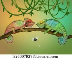 two chameleons on the branch