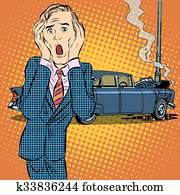 Car accident man panic