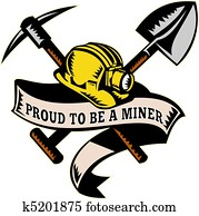 coal miner hardhat shovel pickax
