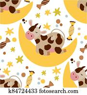 Cow seamless vector pattern.