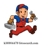 heimwerker, laufende, mit, a, werkzeugkasten