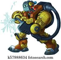 Humanoid Robot Welder Vector Cartoon Mascot Illustration