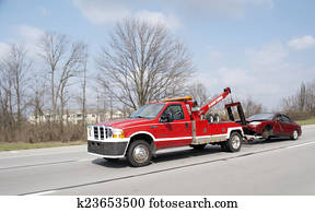 Red Tow Truck Towing Car