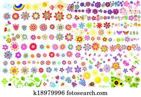 Summer flowers, sun and butterflies