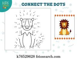 verbinden punkte, kinderspiel, vektor, abbildung