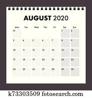 august 2020 calendar with wire band