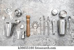 Bar tools making cocktail Shaker jigger Food and beverage