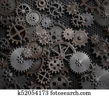 gears and cogs steam punk mechanical background 3d illustration