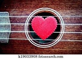 red heart with ukulele