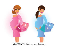 Blue and pink pregnant women