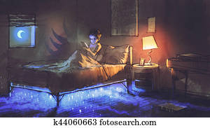 boy reading tablet in bedroom and something under the bed