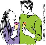 happy couple eating ice cream illus