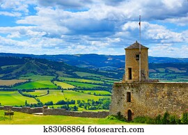 Historical medieval village, fortress- Severac le chateau, Aveyron, france tourism