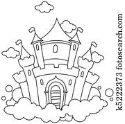 Line Art Barn Castle