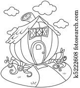 Line Art Pumpkin House