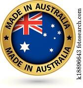 Made in Australia gold label, vector illustration