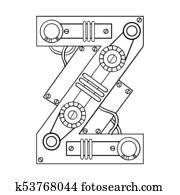 Clipart Of Mechanical Letter W Engraving Vector Illustration