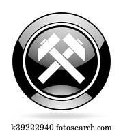 mining black glossy icon