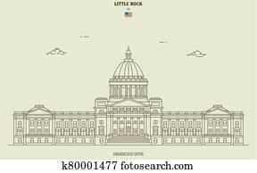 Arkansas State Capitol in Little Rock, USA. Landmark icon