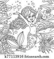 Cute happy little mermaid girl on underwater world with corals, seaweed, anemones and cartoon fishes background outlined