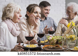 Family dinner with wine