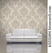 Modern sofa damask wallpaper