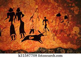 Cave painting of primitive commune