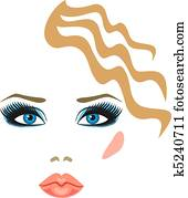 makeup with eye shadow and lipstick