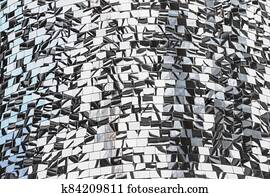 Mosaic of mirror pieces with reflection. Abstract mirror background made up of mirror fragments