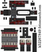 Paper model of a vintage steam train