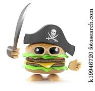 3d Pirate burger