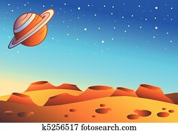 Cartoon red planet landscape